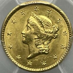 1849 1 Gold Liberty Open Wreath Dollar Ms63+ Pcgs First Year Issue Pop 2