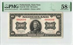 Netherlands 100 Gulden 1943 State Note Abnc Pick 69 Pmg Choice About Unc 58 Epq