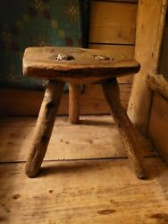 A Superb And Rare Primitive Welsh Milking Stool Hearth Stool Primitive