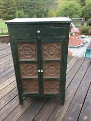 Antique Primitive Punched Tin Pie Safe 12 Tins Cupboard Is 24 X 15 X 42 High