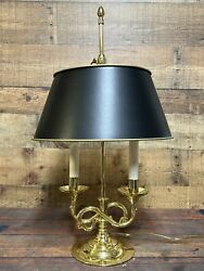 """Baldwin Brass Serpentine Bouillotte 2 Arm Candlestick 22"""" Table Lamp Made In Usa"""