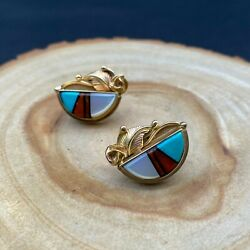 Vintage Zuni Native 14k Gold Coral Turquoise Mop Inlay Earrings