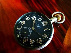 Rare Swiss Antique Aerial Wwi Military Pilots Pocket Watch Doxa Mark V - Working