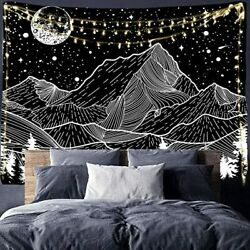 Mountain Tapestry Moon Tapestry Wall Hanging Black amp; White Forest Tree Tapestry