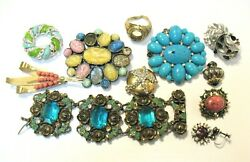 Antique Vintage Jewelry Lot Of 12 Pieces For Parts Repair Costume Jewelry