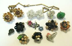 Antique Vintage Jewelry Lot Of 13 Pieces For Parts Repair Costume Jewelry