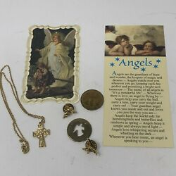 Lot Of Catholic Angel 2 Coins 2 Pins 2 Prayer Cards 18 Gold Cross Necklace