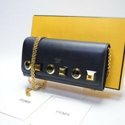 Fendi Long Wallet Studs Removable Chain Can Be Angled Black Consumption T _63959