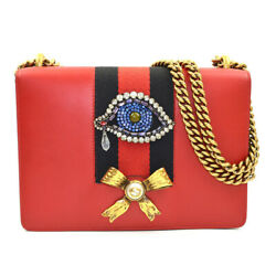 Chain Shoulder Bag Calf Leather Red Navy Women And039s Secondhand _48799