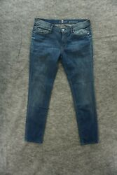 7 For All Mankind Gwenevere Jeans Womens Size 31 Blue Skinny Straight Low Rise