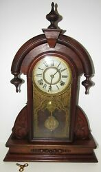 Antique E.n. Welch Parlor Kitchen Mantel Clock 8-day Time/strike Key-wind
