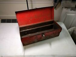 Antique Vintage Metal Carry Tool Box Red 19.25 X 7.5 X 7.5