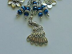 PEACOCK FLOWERS PALM TREE CRYSTALS KEY CHAIN PURSE CHARM BAG CLIP DESIGNER BAGS $9.99