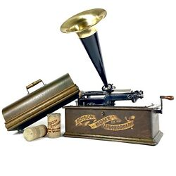 Splendid 1902 Edison Home Model A Banner Front Cylinder Phonograph Record Player