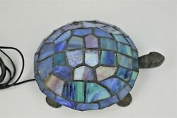 Stained Glass Turtle Accent Table Lamp Night Light Blue Nautical    B1