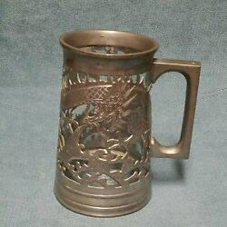 Vtg 2nd Rare 19th Century Chinese Huikee Carved Pewter Dragon Glass Stain