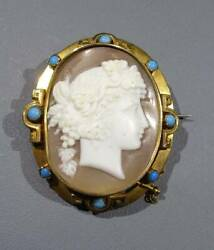 Antique Ciel Cameo 9ct. Turquoise Brooch Early 20th Century