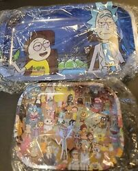 One Large/small Rick And Morty Themed Rolling Tray Set High Quality