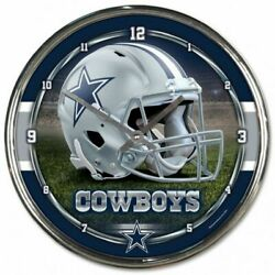Dallas Cowboys 12 Inch Chrome Clock By Wincraft - Perfect For Man Cave, Office