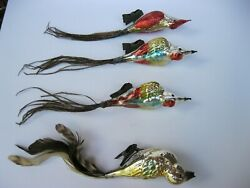 Vintage Lot Christmas Spun Glass Birds With Feathers Ornament 9 West Germany