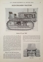 1937 Ad.xc23allis-chalmers Model K And Wk Earth Moving Tractors
