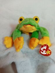 Ty Beanie Baby Green And Yellow 8in Smoochy Frog Rare Errors