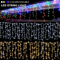 96-480 Led Hanging Icicle Curtain Lights Outdoor Fairy Xmas String Wedding Lamp