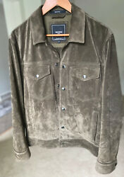 Todd Snyder Italian Suede Snap Dylan Jacket Trucker - Large Olive Green