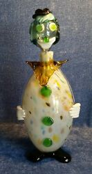 Vintage Hand Blown Glass Clown Decanter Multi Color Black Hat And Shoes 14.5 Tall