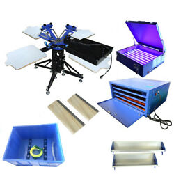 3 Color 4 Station 1 Dryer Silk Screen Printing Machine And Squeegee Simple Kit