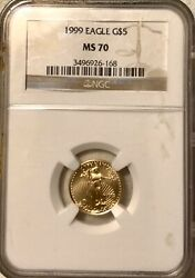 1999 5 Gold American Eagle Ngc Ms70 Free Shipping