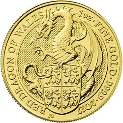 2017 Great Britain 1 Oz Gold Queen's Beasts The Dragon Brilliant Uncirculated