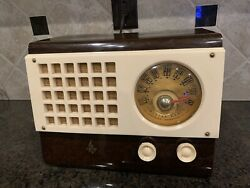 Vintage Emerson Catalin Am Tube Radio 520 1946 Brown Marbled Model It Works