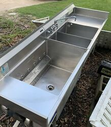Stainless Steel 3 Compartment Power Soak Sink Commercial 102andrdquo