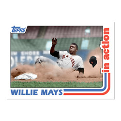 Willie Mays From 2021 Throwback Thursday Set 41 - 1982 Baseball In Action