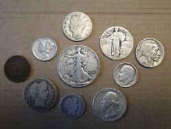 Collection Of Ten 10 Historic Vintage Us Coins Seven Of Them Are Silver