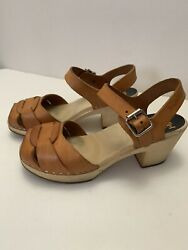 Swedish Hasbeens Toffel Super High Clogs Nature Leather Buckle Shoes Sz 36 Us 6