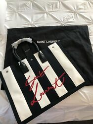 Limited Edition Saint Laurent Black And White Ysl Noe Canvas Tote Bag Sold Out