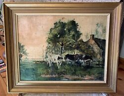 Antique English Country/farmhouse Style Cow Oil Painting