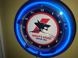 Wolfand039s Head Oil Gas Service Station Man Cave Neon Clock Advertising Sign