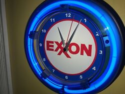 Exxon Oil Gas Service Station Man Cave Neon Clock Advertising Sign
