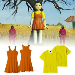 Kids Squid Game Robot Doll Cosplay Costumes 123 Wooden Man Party Fancy Dress Set