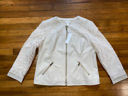Nwt 159 Chicos Ivory Faux Leather Laced Crochet Pieced Zip Jacket Coat Size 2 L