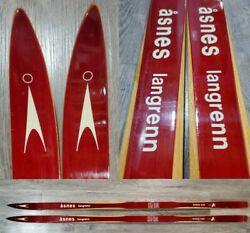 Vintage Asnes Langrenn Hickory Wood Red Skis Cross Country Cabin Decor Norway