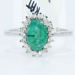 Emerald Diamond Gemstone Rings Cocktail Ring Statement Band Christmas Gift 8x6mm