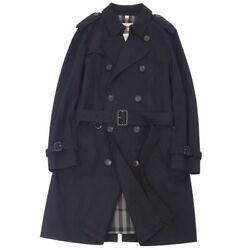London Coat Trench Mens Back Check Cotton Outer 50 Black _65360