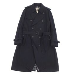 London Cotton 100 Trench Coat Back Check Mens Outer 52 Black _65348