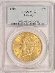 1907 20 Liberty Gold Double Eagle Pcgs Ms-63 Pre-1933 Gold In An Older Holder