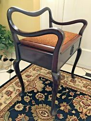 Antique Mahogany Piano Sewing Bench Vanity Stool Chair Lift Top Seat Storage