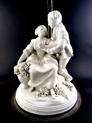 Vintage Electric Lamp With Falconer Porcelain Statue Figurine Base No Shade